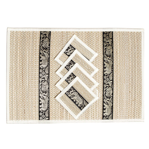Traditional Thai Pattern Ivory Bamboo Wicker Placemat (12x18) and Coaster (5x5) Set