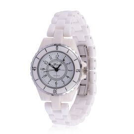 GENOA Japanese Movement White Dial Water Resistant Watch in Silver Tone with Stainless Steel Back and White Ceramic Strap with Gift Box