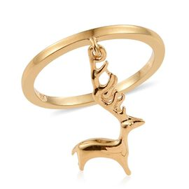 Reindeer Silver Charm Ring in Gold Overlay.