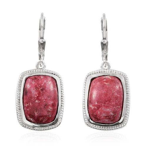 Norwegian Thulite (Cush) Earrings in Platinum Overlay Sterling Silver 14.250 Ct.