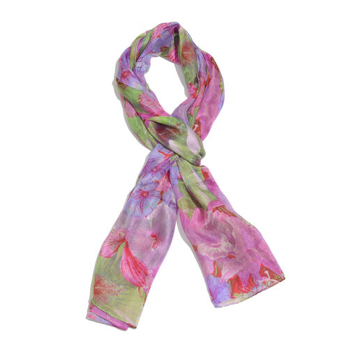 100% Mulberry Silk Pink and Green Colour Artistic Floral Printed Multi Colour Stole (Size 180x50 Cm)