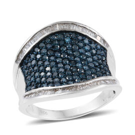 Blue Diamond (Rnd), White Diamond Ring in Platinum Overlay Sterling Silver 2.000 Ct.