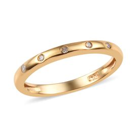 Diamond Button Band Ring in Gold Overlay Sterling Silver