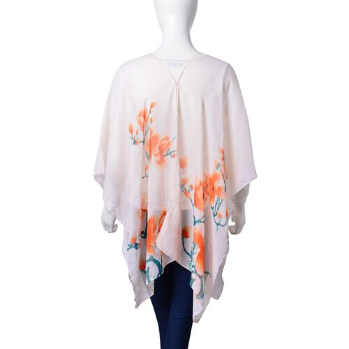 Plum Blossom Floral Pattern Orange, Teal Green and Peach Colour Poncho with Simulated White Pearl Button (Size 90x75 Cm)