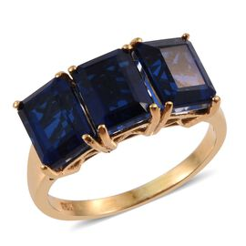 Ceylon Colour Quartz (Oct) Trilogy Ring in 14K Gold Overlay Sterling Silver 5.500 Ct.