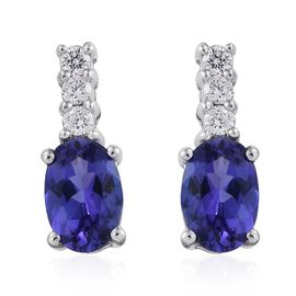 ILIANA 18K W Gold AAA Tanzanite (Ovl), Diamond Earrings (with Screw Back) 1.100 Ct.