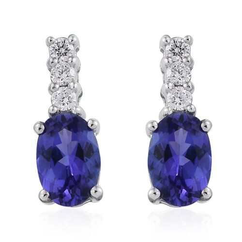 ILIANA 18K White Gold 1.10 Carat AAA Tanzanite Oval, Diamond Earrings with Screw Back.