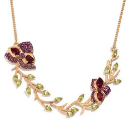 GP African Ruby (Pear), Hebei Peridot, African Ruby, Rhodolite Garnet and Kanchanaburi Blue Sapphire Necklace (Size 18) in 14K Gold Overlay Sterling Silver 15.250 Ct.