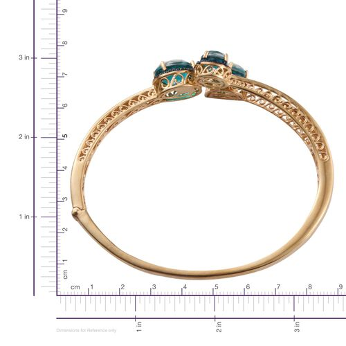 Capri Blue Quartz (Ovl 5.25 Ct), Diamond Bangle (Size 7.5) in 14K Gold Overlay Sterling Silver 11.020 Ct.