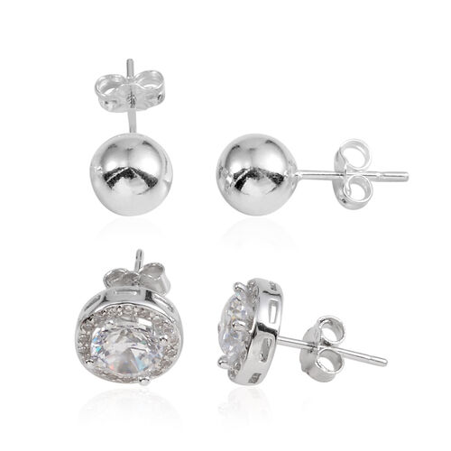 JCK Vegas Collection Set of 2 - AAA Simulated Diamond (Rnd) Stud Earrings (with Push Back) in Sterling Silver