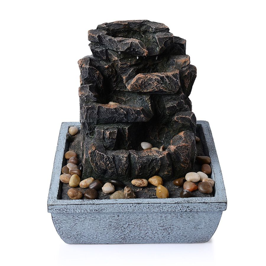 Home decor rock and pebbles water fountain with electric for Rock home decor