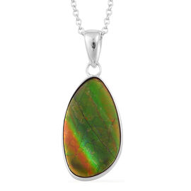 (Option 1) Canadian Ammolite Pendant With Chain in Rhodium Plated Sterling Silver 7.350 Ct.