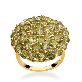 Hebei Peridot (Rnd) Cluster Ring in 14K Gold Overlay Sterling Silver 11.500 Ct.