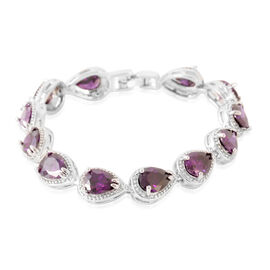 JCK Vegas Collection AAA Simulated Purple Sapphire  (Pear) Bracelet (Size 7) in Silver Bond
