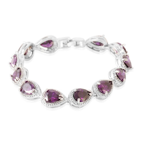JCK Vegas Collection AAA Simulated Amethyst  (Pear) Bracelet (Size 7) in Silver Bond