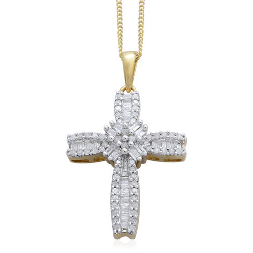 Limited Available-Diamond (Rnd) Cross Pendant With Chain in Platinum and 14K Gold Overlay Sterling Silver 0.500 Ct.