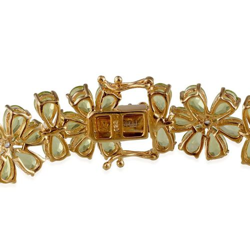 AA Hebei Peridot (Pear), White Topaz Bracelet (Size 7.5) in 14K Gold Overlay Sterling Silver 41.250 Ct.