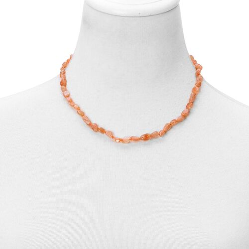 Sri Lankan Sunstone Necklace (Size 18 with 2 inch Extender) in Rhodium Plated Sterling Silver 65.000 Ct.