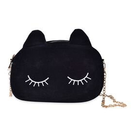 Black Colour Crossbody Bag with Chain Strap (Size 20x13.5x6.5 Cm)