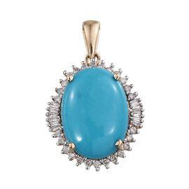 9K Y Gold Arizona Sleeping Beauty Turquoise (Ovl 9.00 Ct), Diamond Pendant 9.500 Ct.