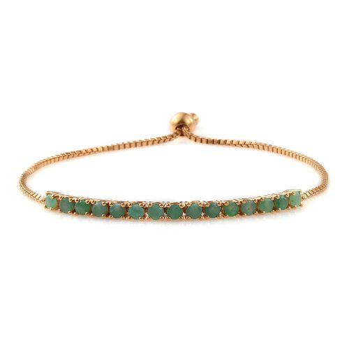 Brazilian Emerald (Rnd) Adjustable Bracelet (Size 6.5 to 8) in 14K Gold Overlay Sterling Silver 2.000 Ct.