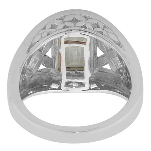 Espirito Santo Aquamarine Platinum Overlay Sterling Silver Ring  1.57  Ct.