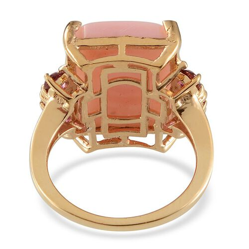 Peruvian Pink Opal (Oct 8.75 Ct), Signity Blazing Red Topaz Ring in Yellow Gold Overlay Sterling Silver 9.750 Ct.