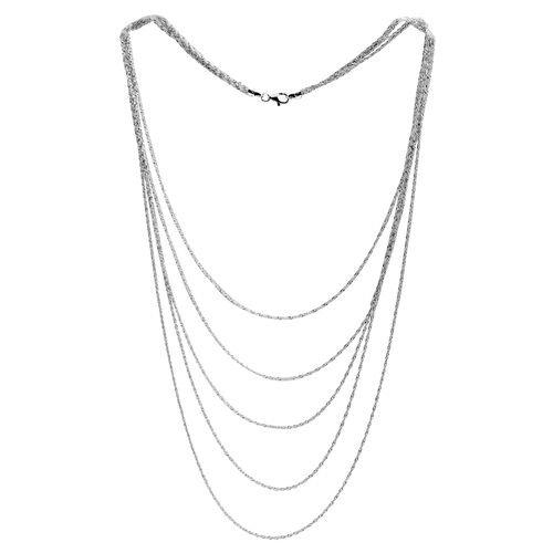 Close Out Deal Rhodium Plated Sterling Silver 5 Strand Prince of Wales Chain (Size 22), Silver wt 11.30 Gms.