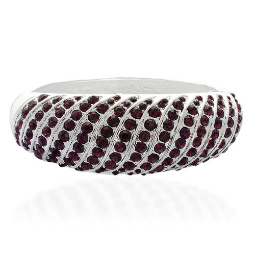 Purple Austrian Crystal Bangle in Silver Tone (Size 7.5)