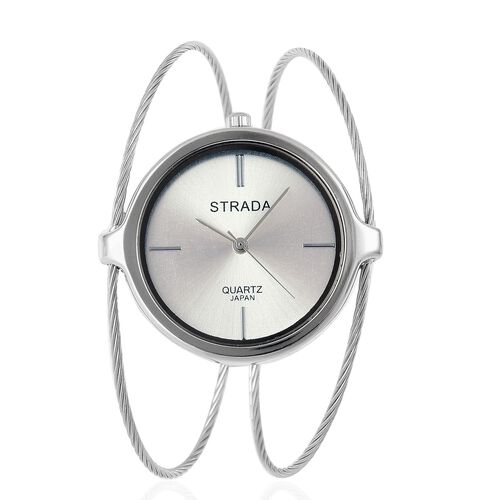 STRADA Japanese Movement Bangle Watch in Silver Tone with Stainless Steel Back