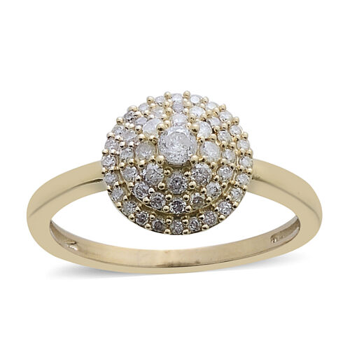 9K Y Gold SGL Certified Diamond (Rnd 0.08 Ct) (I3/ G-H) Cluster Dome Ring 0.500 Ct.