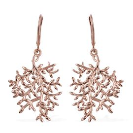 Rose Gold Overlay Sterling Silver Lever Back Olive Leaves Earrings, Silver wt 4.94 Gms.