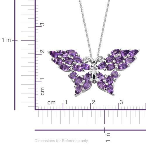 Amethyst (Mrq) Butterfly Pendant With Chain in Platinum Overlay Sterling Silver 2.250 Ct.