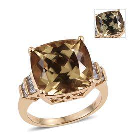 ILIANA 18K Y Gold Natural Turkizite (Cush 11.05 Ct), Diamond Ring 11.250 Ct.
