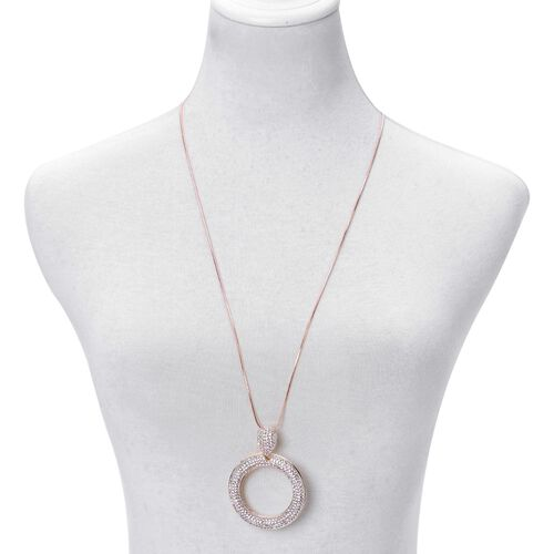White Austrian Crystal Pendant With Chain in Rose Gold Tone