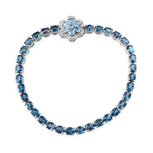 London Blue Topaz (Ovl), Electric Swiss Blue Topaz and Diamond Floral Bracelet in Platinum Overlay Sterling Silver (Size 7.5) 12.650 Ct.