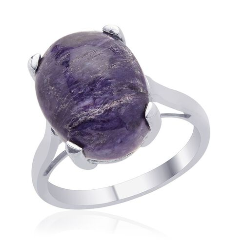 Russian Charoite (Ovl) Solitaire Ring in Platinum Overlay Sterling Silver 8.000 Ct.