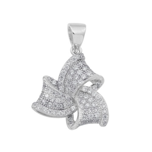 ELANZA AAA Simulated Diamond (Rnd) Knot Pendant in Rhodium Plated Sterling Silver