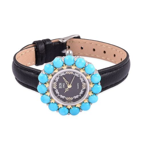 EON 1962 Japanese Movement SLEEPING BEAUTY TURQUOISE (15.00 Ct), Black Dial Water Resistant Watch in Gold Overlay Sterling Silver with Steel Back Leather Strap (Silver wt. 21.11 Gms.)