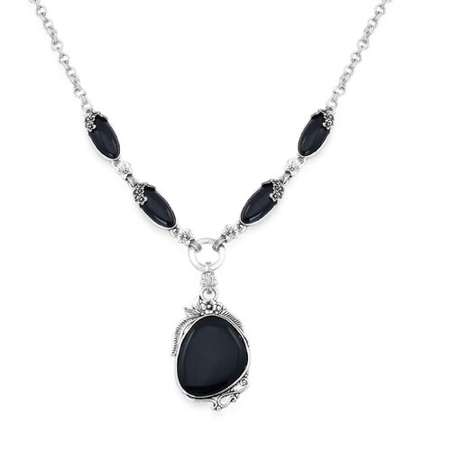 Black Onyx Necklace (Size 20) and Hook Earrings in Black Tone 40.000 Ct.