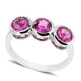 ILIANA 18K W Gold Pink Sapphire (Rnd) Trilogy Ring 1.500 Ct.