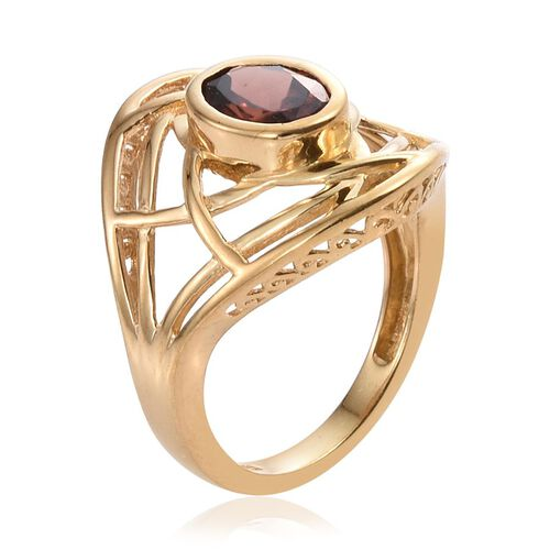 AA Mocha Zircon (Ovl) Solitaire Ring in 14K Gold Overlay Sterling Silver 2.000 Ct.