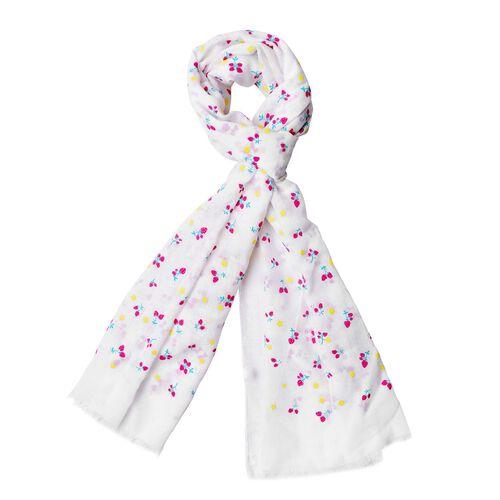Cherry Pattern White Colour Scarf (Size 180x70 Cm)