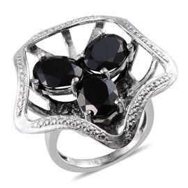 Boi Ploi Black Spinel (Ovl) Trilogy Ring in ION Plated Stainless Steel 7.000 Ct.