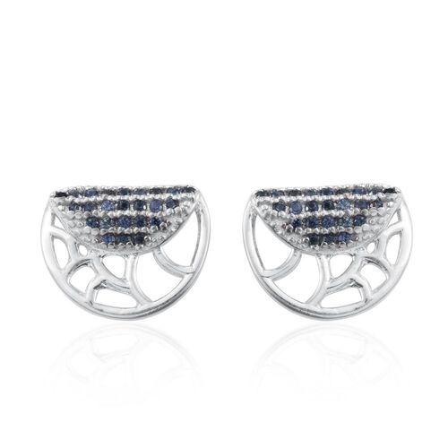 Madagascar Blue Sapphire Silver Stud Earrings (with Push Back) in Platinum Overlay
