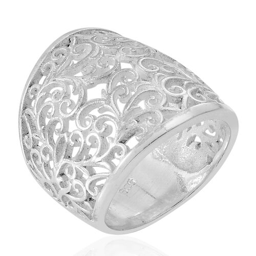 Thai Rhodium Plated Sterling Silver Filigree Ring, Silver wt 7.00 Gms.