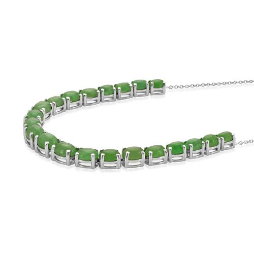 Green Jade (Ovl) Necklace (Size 18) in Platinum Overlay Sterling Silver 25.750 Ct.