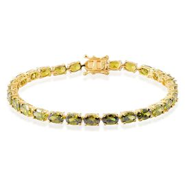 AAA Simulated Peridot (Ovl) Bracelet in Yellow Gold Overlay Sterling Silver (Size 7.5)