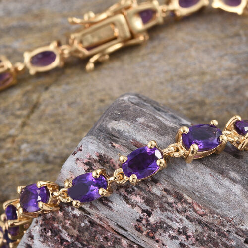 AA Lusaka Amethyst (Ovl) Tennis Bracelet (Size 7.5) in 14K Gold Overlay Sterling Silver 9.000 Ct.