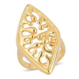 LucyQ Oval Wave Ring in Yellow Gold Overlay Sterling Silver 7.30 Gms.